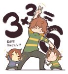 3others :t =_= anniversary bandaid bandaid_on_face blue_shirt brown_hair chara_(undertale) chibi child deltarune food_in_mouth frisk_(undertale) green_shirt hair_over_eyes highres holding holding_weapon kitsune_no_ko knife kris_(deltarune) long_sleeves messy_hair multiple_others other_focus shirt smile striped striped_shirt undertale weapon