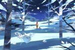 1girl arm_ribbon backpack bag banned_artist bare_tree brown_hair commentary_request expedition_uniform footprints frosmoth gloria_(pokemon) grookey helmet jacket moon night nin_(female) orange_jacket orange_pants outdoors pants pokemon pokemon_(creature) pokemon_(game) pokemon_swsh red_ribbon ribbon short_hair sky snom snow standing star_(sky) tree yellow_bag