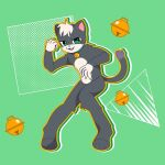alex_(super_cat_tales) bell black_hair cat green_background green_eyes jumping no_humans pose super_cat_tales tagme white_hair