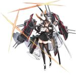 1girl animal_ears azur_lane black_legwear braid breasts brown_eyes brown_hair chikuma_(azur_lane) closed_mouth dress full_body hair_ornament high_heels highres holding holding_sword holding_weapon huge_weapon katana large_breasts long_hair long_sleeves looking_at_viewer machinery mole mole_under_mouth official_art pleated_skirt pom_pom_(clothes) rabbit_ears shiny shiny_hair shisantian short_dress skirt smile solo sword thigh-highs tied_hair transparent_background turret weapon white_footwear zettai_ryouiki