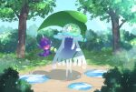 :d banned_artist closed_eyes commentary_request day grass holding holding_leaf leaf nihilego nin_(female) no_humans open_mouth outdoors poipole pokemon pokemon_(creature) puddle sky smile tree ultra_beast water