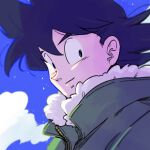 1boy backlighting black_eyes black_hair blue_sky blurry blurry_background close-up closed_mouth clouds cloudy_sky day depth_of_field dragon_ball dragon_ball_z face facing_viewer floating_hair fur-trimmed_jacket fur_trim green_jacket high_collar jacket kz_(dbz_kz) light_particles light_smile looking_back male_focus sideways_glance sky son_goku upper_body wind wind_lift winter_clothes zipper