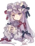 1girl black_bow black_ribbon blush bow crescent crescent_hat_ornament eyebrows_visible_through_hair hair_bow hat hat_ornament hat_ribbon highres long_hair long_sleeves mob_cap moon parted_lips patchouli_knowledge purple_hair purple_headwear red_bow red_ribbon ribbon signature simple_background solo touhou toutenkou violet_eyes white_background