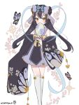 1girl artist_name black_hair blue_butterfly blue_eyeshadow blush bug butterfly butterfly_hair_ornament detached_sleeves double_bun dress english_commentary eyeshadow flower hair_ornament hand_fan holding holding_fan makeup moenaomii_(artist) original pink_butterfly pink_flower purple_dress sketch solo sparkle thigh-highs twintails white_background