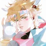 1boy absurdres battle_tendency blonde_hair blue_gloves bubble_blowing caesar_anthonio_zeppeli ez_1011 facial_mark feather_hair_ornament feathers fingerless_gloves gloves green_eyes hair_between_eyes hair_ornament headband highres jojo_no_kimyou_na_bouken looking_at_viewer male_focus ok_sign parted_lips portrait short_hair simple_background solo turtleneck upper_body white_background