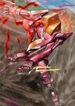 amasaki_yusuke blue_eyes code_geass dirt glowing glowing_hand guren_nishiki highres holding holding_knife knife knightmare_frame looking_to_the_side mecha mountain no_humans science_fiction skating solo