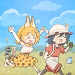 4girls animal_ears backpack bag bare_shoulders black_gloves black_hair black_legwear blonde_hair blue_sky blue_sweater blush bow bowtie cat_ears cat_girl cat_tail commentary_request common_raccoon_(kemono_friends) elbow_gloves eyebrows_visible_through_hair fang fennec_(kemono_friends) fox_ears fox_girl fox_tail gloves grey_shorts hat_feather helmet high-waist_skirt highres kaban_(kemono_friends) kemono_friends lucky_beast_(kemono_friends) multiple_girls open_mouth pantyhose pink_sweater pith_helmet print_legwear print_neckwear print_skirt raccoon_ears raccoon_girl raccoon_tail running savannah serval_(kemono_friends) serval_print shirt short_hair shorts sitting skirt sky sleeveless sweater tail thigh-highs tree wamawmwm white_shirt