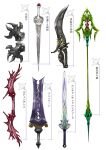 bow commentary_request dagger fantasy greatsword knife long_sword no_humans original polearm ross_(clumzero) shuriken simple_background spear still_life sword translation_request weapon weapon_focus weapon_request white_background