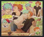 2boys blue_hair boyfriend_(friday_night_funkin') cigarette english_text friday_night_funkin' holding_cigarette holding_object kiss orange_hair pico_(pico's_school) sushiisiu yaoi
