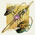 artist_name chain commentary double-blade english_commentary english_text fantasy fire flame light_particles lion_print no_humans original scroll shield simple_background sinlaire still_life sword weapon weapon_focus white_background yellow_background