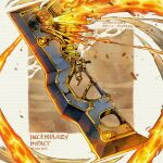 artist_name brown_background commentary english_commentary english_text explosion fantasy fire no_humans original simple_background sinlaire still_life sword weapon weapon_focus weapon_request white_background