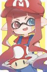 1girl blue_eyes blue_pants border cosplay food hat holding holding_food holding_mushroom inkling long_hair looking_to_the_side mario mario_(cosplay) mario_hat matsushita_(matsudbox) mushroom pants pointy_ears red_eyes red_headwear red_shirt redhead shirt simple_background smile solo splatoon_(series) star_(symbol) upper_body white_border yellow_background
