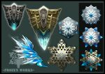 black_background commentary_request english_commentary english_text fantasy green_background harunori_oogami ice mixed-language_commentary no_humans original shield simple_background snowflakes still_life weapon weapon_focus