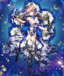 1girl armpits blue_eyes blue_flower blue_rose boots crescent_moon crown dress flower full_body high_heel_boots high_heels holding holding_sword holding_weapon leotard looking_at_viewer moon multiple_weapons pika_(kai9464) pink_hair planet queen_(soccer_spirits) rose short_hair soccer_spirits star_(symbol) sword thigh-highs weapon white_dress white_leotard