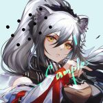 1girl :< animal_ears arknights black_scarf blue_background character_request closed_mouth ez_1011 gradient_hair grey_hair hair_between_eyes high_ponytail highres jacket long_hair long_sleeves looking_at_viewer multicolored_hair ponytail scarf solo striped striped_scarf upper_body watermark yellow_eyes