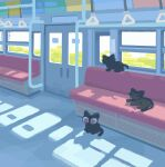 ^_^ animal animal_focus animated animated_gif backlighting black_cat cat closed_eyes day door facing_away facing_viewer from_behind ground_vehicle hand_grip highres indoors lying no_humans no_lineart on_side original pink_eyes scenery seat shade shadow sitting subway toyoi_yuuta train train_interior vehicle_interior wide_shot window