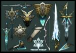 arrow_(projectile) axe bow_(weapon) commentary_request dagger english_commentary english_text fantasy green_background harunori_oogami ice knife lance mixed-language_commentary no_humans original polearm quiver shield simple_background snowflakes still_life sword weapon weapon_focus