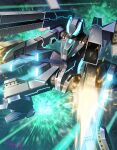 amasaki_yusuke black_six blue_eyes explosion firing gun highres holding holding_gun holding_weapon laser majestic_prince mecha no_humans science_fiction shoulder_cannon solo space weapon
