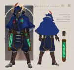 1boy 5-en alternate_costume apex_legends blue_capelet blue_headwear blue_jacket boots brown_footwear brown_gloves capelet caustic_(apex_legends) claws clenched_hand gloves green_eyes hair_behind_ear hat hat_feather highres jacket male_focus multiple_views red_feathers silver_hair vial