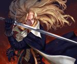 1boy absurdres alucard_(castlevania) ascot black_gloves blonde_hair cape castlevania castlevania_(netflix) embers fighting_stance gloves highres jacket long_hair looking_to_the_side ori_dal serious solo sword weapon yellow_eyes