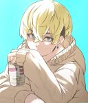 1boy bangs blonde_hair blue_background brown_hoodie can covered_mouth earrings eyebrows_visible_through_hair green_eyes hair_between_eyes holding holding_can hood hood_down hoodie icehotmilktea jewelry long_sleeves looking_at_viewer male_focus matsuno_chifuyu simple_background sleeves_past_wrists solo thick_eyebrows tokyo_revengers upper_body