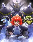 3boys absurdres character_name colored_sclera crossed_arms dinosaur_boy fangs furry getter_robo getter_robo_arc gettersaurus green_eyes green_hair helmet highres horns male_focus mecha multiple_boys ohdon open_mouth pilot_suit redhead sharp_teeth smile spikes super_robot teeth yellow_eyes yellow_sclera