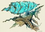 aircraft airship artist_name cannon commentary dated electricity english_commentary english_text fantasy highres light_particles no_humans open_mouth original simple_background sinlaire still_life tree whale white_background wings wood