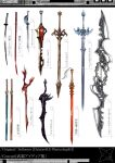 commentary_request double-blade english_text fantasy katana long_sword no_humans original ross_(clumzero) shuriken simple_background still_life sword translation_request weapon weapon_focus weapon_request white_background