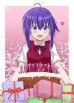 1girl absurdres ahoge birthday birthday_cake blush bow box cake candle food gift gift_box highres huge_filesize mahou_sensei_negima! miyazaki_nodoka purple_hair school_uniform shiny short_hair smile