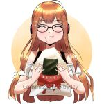 1girl absurdres ahoge arms_up bangs bare_shoulders behind-the-head_headphones black_tank_top black_undershirt blunt_bangs blush circle closed_eyes commission commissioner_upload eating eyebrows_visible_through_hair food food_in_mouth food_on_face glasses gradient hands_up headphones highres hime_cut holding holding_food long_hair off-shoulder_shirt off_shoulder onigiri orange_hair persona persona_5 ragnarrrr rice rice_on_face sakura_futaba shiny shiny_hair shirt short_sleeves simple_background solo sparkle t-shirt tank_top two-tone_background v_arms watermark white_background white_shirt yellow_background