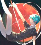 1other androgynous bangs banned_artist black_background closed_mouth commentary_request crystal_hair from_side gem_uniform_(houseki_no_kuni) green_eyes green_hair houseki_no_kuni leo_(feeling_goooood) looking_at_viewer necktie phosphophyllite sheath short_hair short_sleeves shorts solo sparkle unsheathing