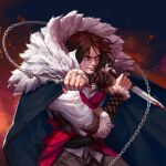 1boy absurdres blood blood_on_face blood_on_weapon blue_eyes brown_hair cape castlevania castlevania_(netflix) chain_whip clenched_teeth dagger embers fur_collar highres knife looking_at_viewer ori_dal solo teeth trevor_c._belmont weapon