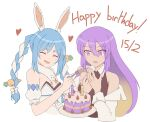 2girls :d aurapls bare_shoulders birthday_cake blue_hair braid cake closed_eyes commentary dated don-chan_(usada_pekora) english_commentary english_text feeding food fork gradient_hair happy_birthday heart highres holding holding_fork hololive hololive_indonesia long_hair moona_hoshinova multicolored_hair multiple_girls open_mouth puffy_short_sleeves puffy_sleeves purple_hair short_sleeves simple_background smile twin_braids usada_pekora white_background
