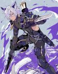 1boy animal_ears armor belt black_gloves bodysuit boots clothing_cutout commentary_request dark-skinned_male dark_skin erune eustace_(granblue_fantasy) foot_out_of_frame gloves granblue_fantasy gun hair_over_one_eye handgun holding holding_gun holding_knife holding_weapon holster knee_pads knife looking_at_viewer male_focus pistol short_hair skin_tight solo squatting sumeshi_(ginshari40) weapon weapon_on_back white_hair
