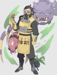 1boy 5-en apex_legends ariados beard black_eyes black_footwear black_pants boots brown_hair caustic_(apex_legends) clenched_hand crossover facial_hair gloves goggles green_eyes grey_background hair_behind_ear highres oddish open_hand pants poke_ball poke_ball_(basic) pokemon pokemon_(creature) trait_connection twitter_username weezing yellow_gloves