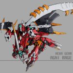 agnirage blue_eyes character_name copyright_name extra_eyes hexa_gear mecha mechanical_wings memento_vivi no_humans open_mouth science_fiction solo wings