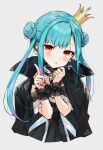 1girl :o aqua_hair asymmetrical_hair black_choker black_coat black_dress blush choker coat coat_on_shoulders crown double_bun dress earrings fingernails flat_chest frilled_dress frilled_straps frills ghost_earrings gotou_(nekocat) gradient_hair head_tilt highres hololive index_finger_raised jewelry lace lace_choker long_hair looking_at_viewer multicolored_hair nail_polish off-shoulder_dress off_shoulder parted_lips pink_hair popped_collar red_eyes red_nails see-through_sleeves short_sleeves sidelocks solo tilted_headwear twintails uneven_twintails uruha_rushia virtual_youtuber w_arms wristband