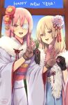2020 2girls black_gloves blonde_hair flower gloves hair_flower hair_ornament happy_new_year highres japanese_clothes kimono long_hair looking_at_viewer multiple_girls murata_tefu new_year open_mouth original pink_hair smile v
