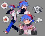 1boy blue_hair boyfriend_(friday_night_funkin') doughnut eating friday_night_funkin' grey_background grey_eyes korean_text mouth_mask pizza samgu_1019 solo standing thought_bubble