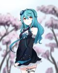 1girl bangs black_dress blue_flower blue_hair blue_rose blurry blurry_background breasts cherry_blossoms clenched_hand dress eyebrows_behind_hair eyeshadow flower frown hair_flower hair_ornament han_ma highres long_hair makeup nijisanji nijisanji_kr orange_eyes red_eyeshadow rose ryu_hari small_breasts solo thigh_strap