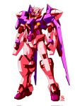 blue_eyes dated english_text gn_drive gundam gundam_00 highres mecha mobile_suit no_humans original pravin_rao_santheran science_fiction solo standing trans-am v-fin white_background