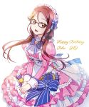 1girl apron bangs birthday character_name commentary_request dated english_text glasses grey-framed_eyewear happy_birthday konro_kai long_sleeves looking_at_viewer love_live! love_live!_sunshine!! low_twintails maid maid_apron maid_headdress redhead sakurauchi_riko sidelocks solo twintails yellow_eyes