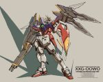 beige_background gun gundam gundam_wing highres holding holding_gun holding_weapon mecha mechanical_wings mobile_suit no_humans roko_(project_1104) science_fiction shadow shield solo standing v-fin weapon wing_gundam_zero wings