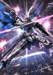 amasaki_yusuke beam_saber double-blade earth_(planet) explosion freedom_gundam glowing glowing_eyes gundam gundam_seed head_tilt highres holding holding_sword holding_weapon mecha mechanical_wings no_humans planet science_fiction shield signature solo space sword v-fin weapon wings