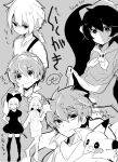 3boys 3girls ashley_(warioware) blush_stickers character_request commentary_request copyright_request dress greyscale hair_ornament herunia_kokuoji ike_(fire_emblem) lifted_by_self link long_hair looking_at_viewer marth_(fire_emblem) midriff monochrome multiple_boys multiple_girls navel pikachu pointy_ears pokemon pokemon_(creature) short_hair signature sketch skull sweatdrop the_legend_of_zelda the_legend_of_zelda:_breath_of_the_wild translation_request twintails warioware