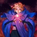 1girl absurdres blue_cloak blue_eyes castlevania castlevania_(netflix) cloak dracula energy_ball fighting_stance highres looking_at_viewer magic ori_dal parted_lips sash solo sypha_belnades upper_body