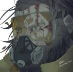 1boy 5-en apex_legends beard blood blood_on_face broken_goggles brown_hair caustic_(apex_legends) facial_hair gas_mask goggles green_eyes hair_behind_ear looking_ahead male_focus mask mouth_mask realistic solo twitter_username white_background