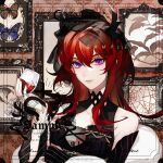 1girl arknights bug butterfly closed_mouth cup drinking_glass ez_1011 hair_between_eyes highres holding holding_cup horns light_smile long_hair looking_at_viewer smile snake solo surtr_(arknights) upper_body veil violet_eyes watermark wine_glass