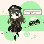 1girl black_eyes black_footwear blush boots chibi closed_mouth cobalta eyebrows_visible_through_hair green_hair ground_vehicle knee_boots long_hair looking_at_viewer rail_romanesque smile solo train translation_request