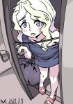 1girl absurdres alternate_costume bag blue_eyes blue_shirt blush blush_stickers casual dated diana_cavendish door doorknob doorway embarrassed green_hair highres holding indoors light_green_hair little_witch_academia long_hair mmmmpymm multicolored_hair no_pants open_door open_mouth opening_door oversized_clothes oversized_shirt plastic_bag sandals shirt short_sleeves solo sweat sweatdrop t-shirt two-tone_hair